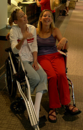 Mags and I find a ginormous wheelchair to share