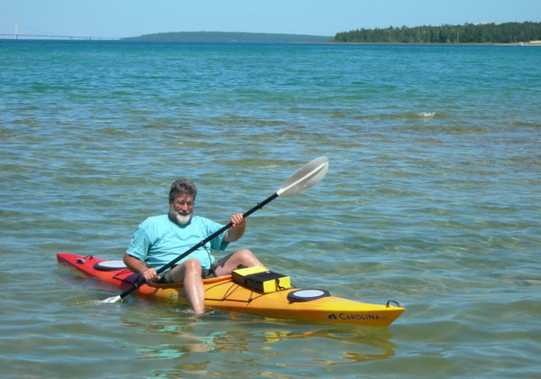 Dad in Mom's kayak