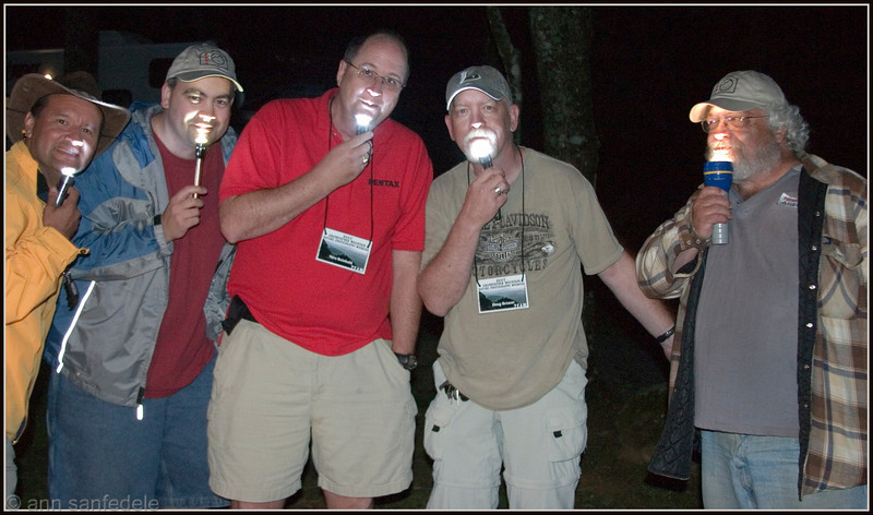 Upon arrival in the wee hours of June 1st, 2007,  Scott Loveless and I were greeted by aliens at the PDML campsite. L to R - Cesar,Cory,Nico, Doug and Chainsaw