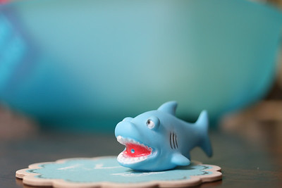 Decorations and food for the 2014 Shark Week Party.
