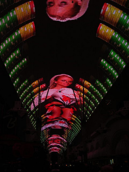 Fremont Street Experience<br /> <br /> It is a big canopy over the road - I think it is the biggest screen in the world.