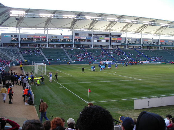 The teams enter the field.
