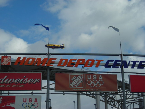 Goodyear Blimp and the Home depot Center. Hmm, I feel like buying tires and tools.
