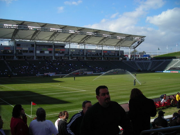 The sprinklers came on for a moment before the game. Would have been funnier if had been during the game.
