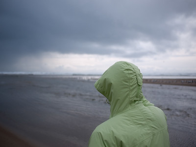 Windy walk on the beach.