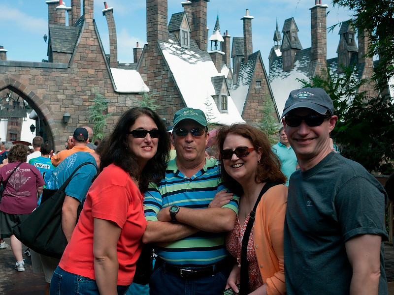 Here we are in line for the Harry Potter ride. We had a lot of time to take pictures...