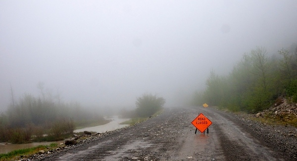 The road up the North Fork of the Teton River is closed  Copyright (C) 2008 Doug Wieringa