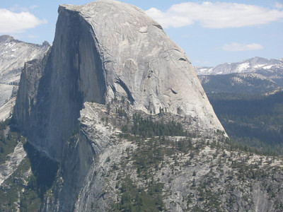 Close up of Half Dome  There are some itty bitty climbers up there