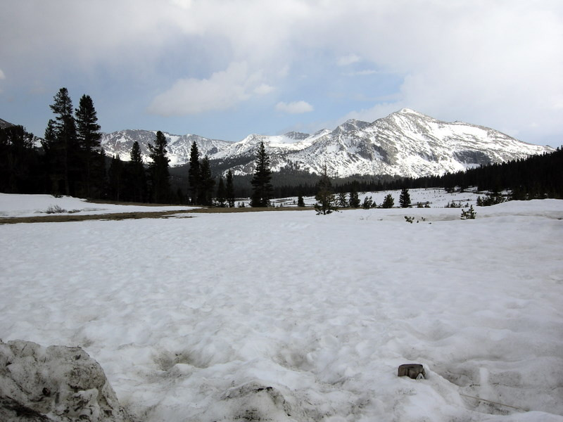 We found about 3 ft of snow at Dana Meadows<br /> <br /> There was a lot of spotty snow around tuolumne still