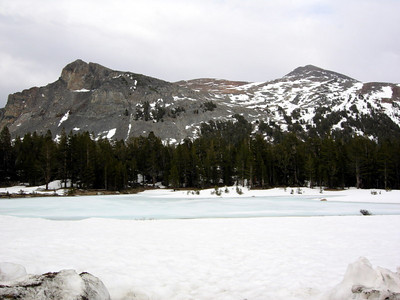 Mt Dana and the frozen pond in the meadow  But we didn't see heavy snowcover until Dana Meadows (~9700 ft)
