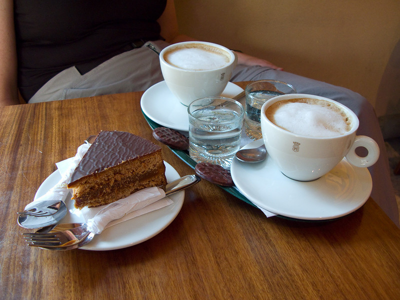 Cafe con leche and GIANT alfajor in Buenos Aires