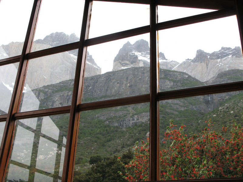 View of Los Cuernos del Paine, from Mona's bunk on day 3 of the trek