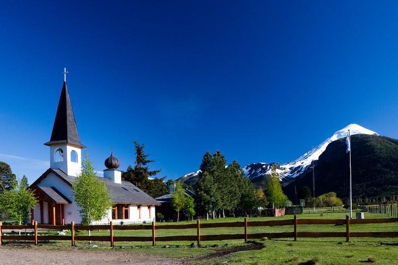 Swiss-style chapel near Volcan Lanin