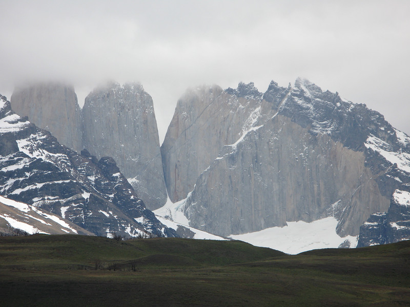 "Parting view of the famous ""Torres"" of Torres del Paine."
