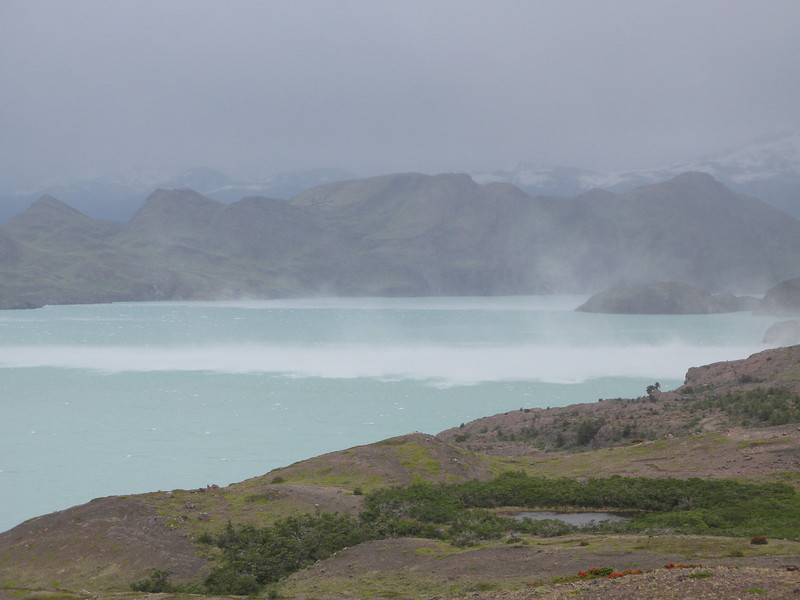 100 km/hr winds across Lago Nordenskjold, Torres del Paine
