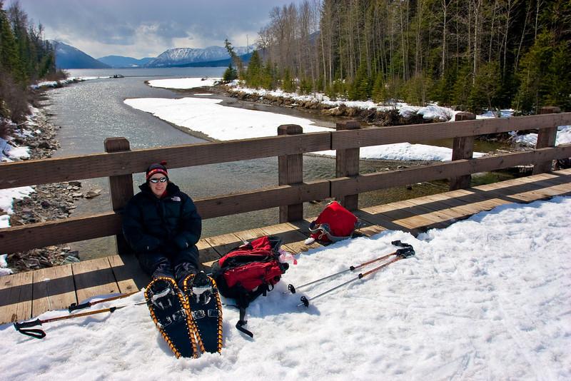 Mona resting near Lake McDonald in Glacier National Park