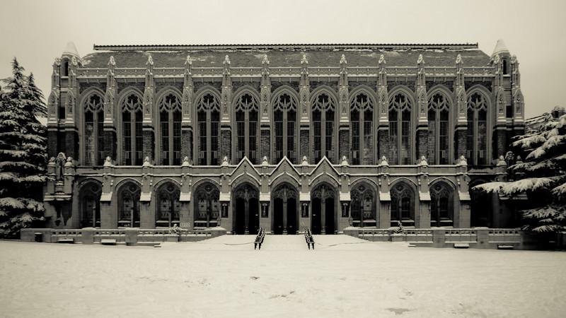 Suzzallo Library at the University of Washington gives a gothic feel to winter