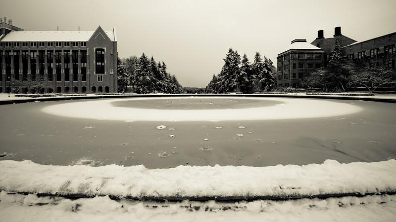 A frozen Drumheller Fountain at the University of Washington