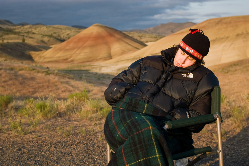 Mona sleeping through sunrise at the Painted Hills - John Day Fossil Beds, Oregon