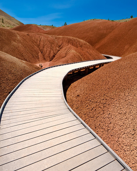 The Painted Cove trail through the Painted Hills - John Day Fossil Beds, Oregon<br /> <br /> The surface of the Painted Hills is very delicate. The Painted Cove trail allows one to walk through a section of the hills in order to see them up close.