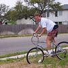 Parker on Foad's bike