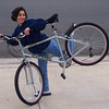 Suzie with Foad's bike