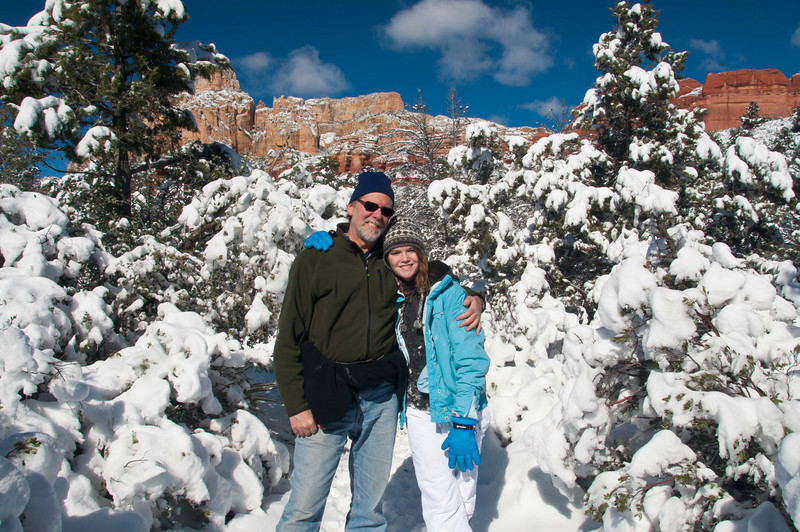 Sedona red rocks in the snow
