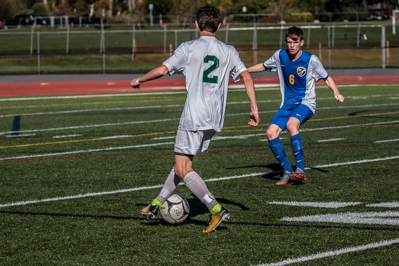 Joey Carbone moving the ball towards the goal