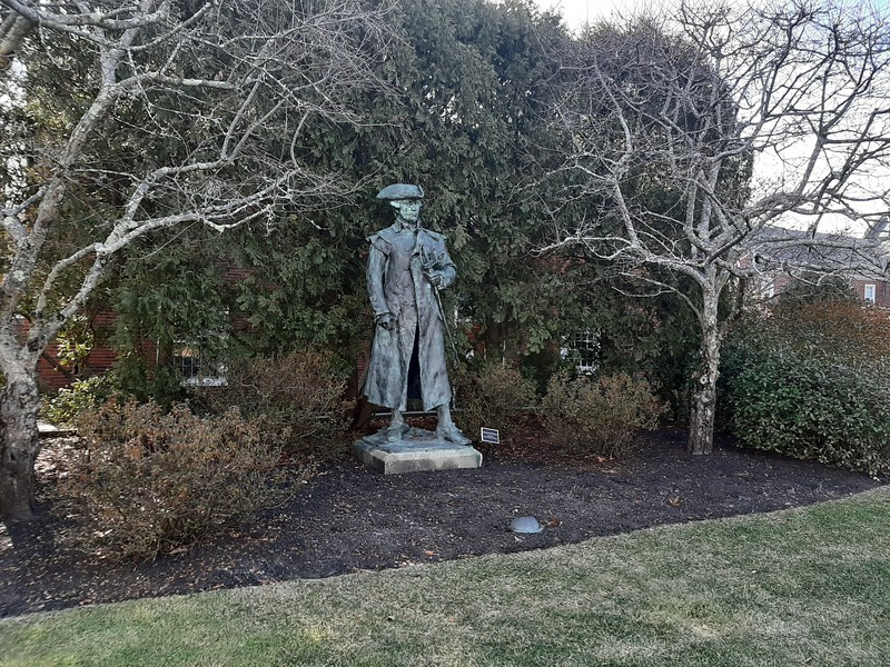 The statue of Gen. Warren at Roxbury Latin School. It is on the green  located on the St. Theresa Av side of the campus.