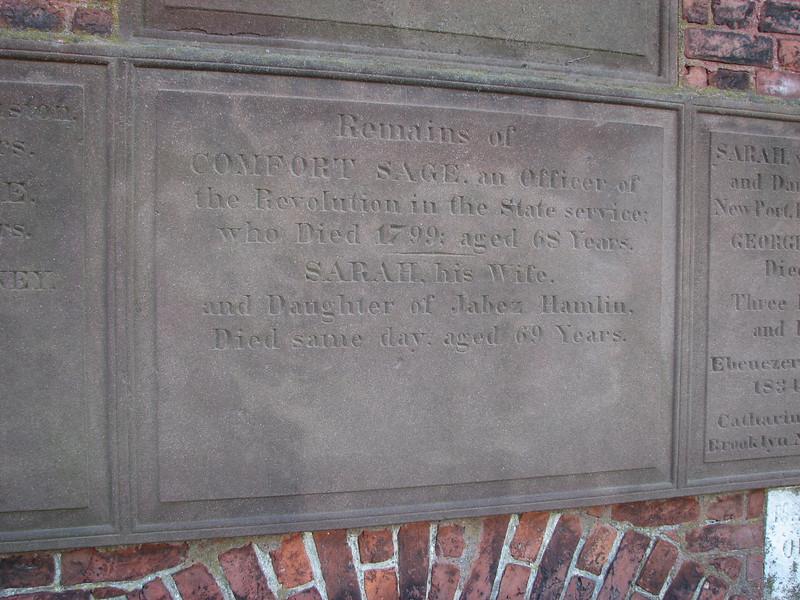 Closeup of Gen. Sage's grave inscription