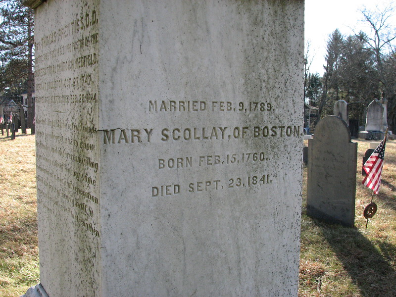 Inscription on the side of the Prentiss monument, in honor of Mercy's sister Mary.