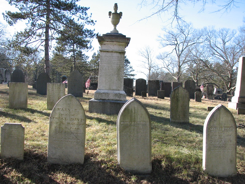 Note the gravestone in the foreground, second from the right, in the row along the road in front of the Prentiss monument. It marks the grave of a daughter of Mercy Scollay's sister, Mary Prentiss, born when Mercy was 59, and named after her.