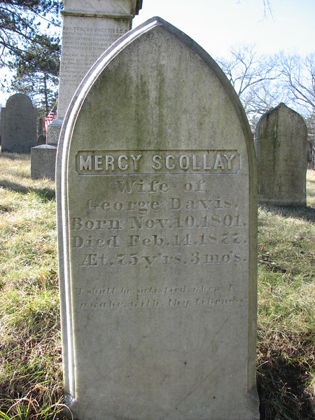 The grave of Mercy Scollay Prentiss Davis, the niece of Mercy Scollay.