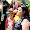Jonathan Tressler - The News-Herald <br> Ashtabula resident Veronica Dahlberg, executive director of HOLA Ohio, addresses the crowd July 27 during a demonstration protesting the imminent deportation of a Painesville Latina who was arrested following a traffic stop July 23.