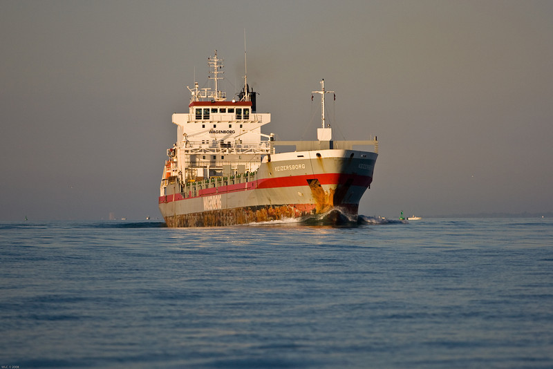 Two freighters passing in mid Lake St Clair, early morning