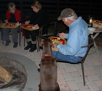 Skeeter is patient while the rest of us enjoy a great meal.