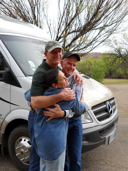 THE RV CREW<br /> Lynne, Greg, and Jerry in a group hug. I had so much fun visiting with these guys I completely forgot to take pictures of them except at the very end. I'm still mad about that. What a fun group!