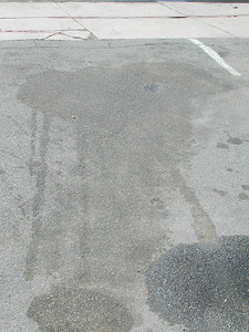 Arik's oil stain...The best part is he drove out of the Mobil afraid they would charge him another $10 to park but the guy just wanted to tell him of the huge oil field under his car.