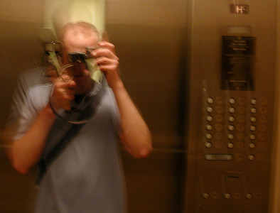fuzzy Jay in the elevator