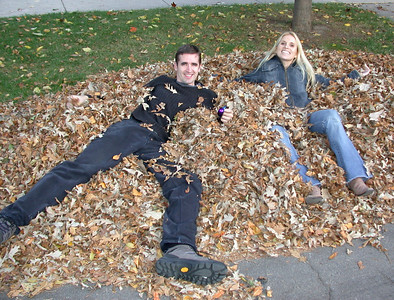 Arik and Katja playing in the leaves after a Frank Lloyd Wright tour