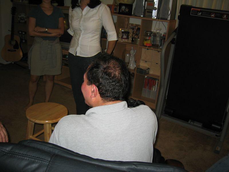 2003 08 07, Thursday - Moe's youthful, dark hair