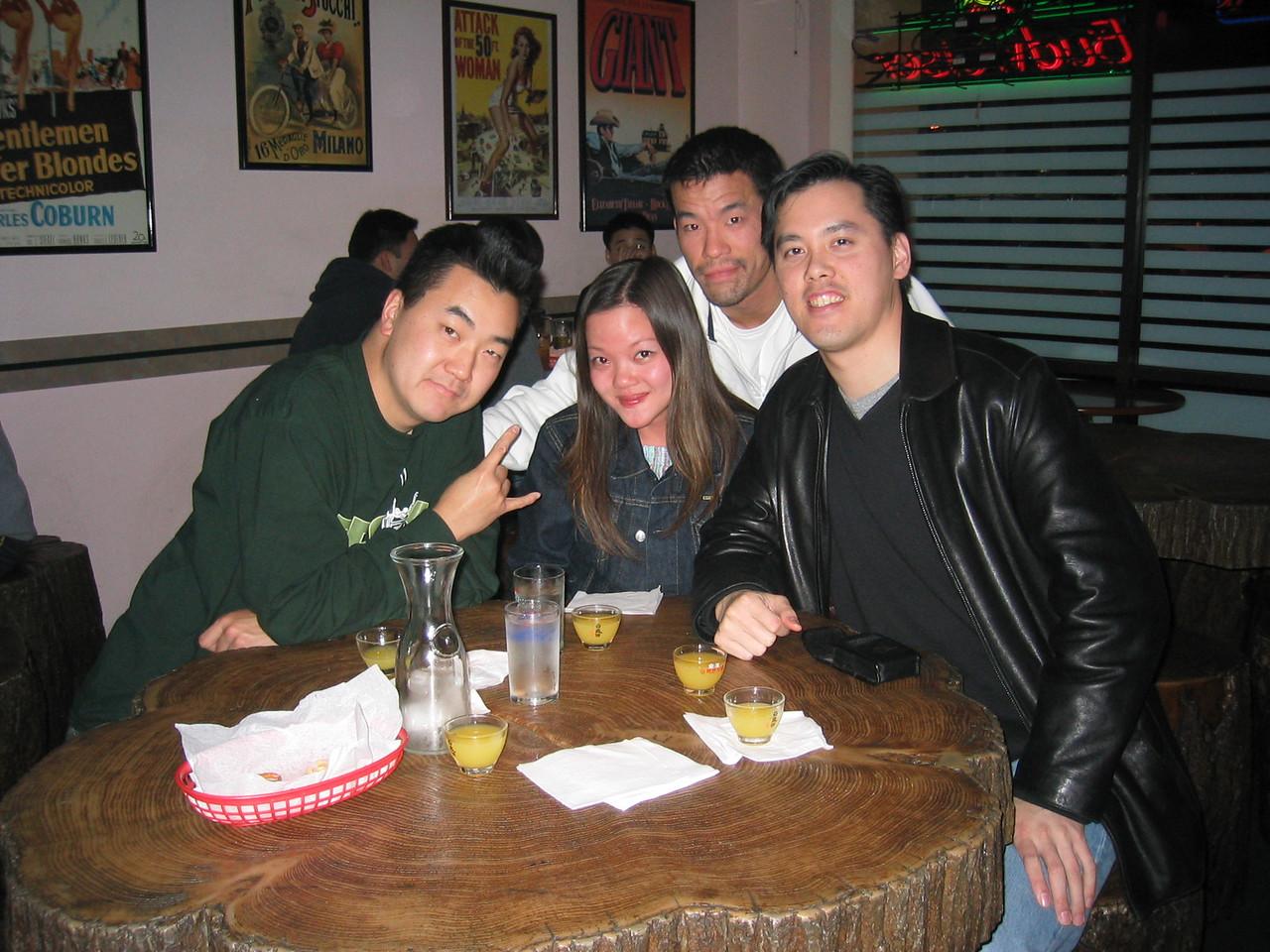 2004 12 18 Saturday - Soju'ed Pink Joann & the boys, Stanley, Alex, & Benny