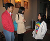Zheng, Xiaofang, and Sangeeta in Arts Council building, Matias Wasef's Coptic art exhibit