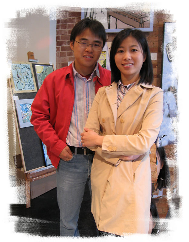 Zhen Huang and Xiaofang Cheng at an art gallery [edgechalk03 frame]