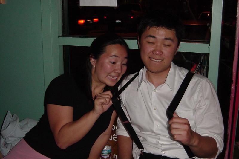 2006 05 12 Fri - Junia & Mike snapping suspenders