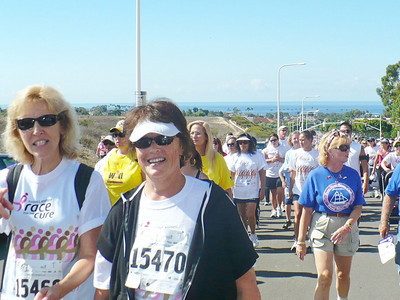 Joan and Carla walking for a cure