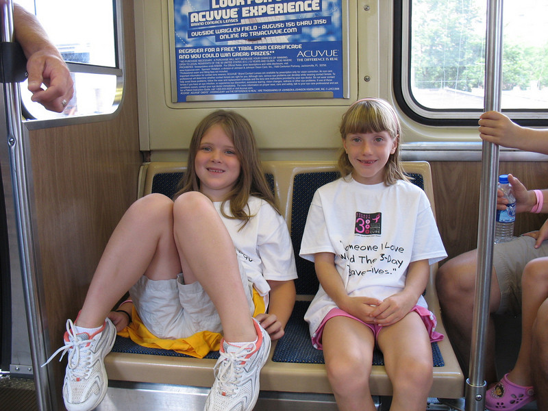 This was the first time the kids (and some adults) had ridden on a train. The girls didn't quite have their train legs so after a few close calls of falling it was time to sit down.