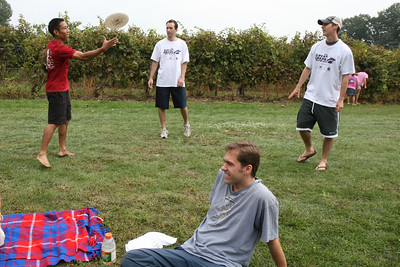 Chris, Jake and Steve doing their pre-stomp warm up. Greg's thinking about what to do with the nail during the stomp.