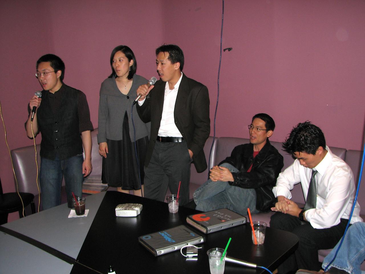 2008 03 15 Sat - Orchid - Caleb Yang, Sojin Kim, Larry Lee, Tony, & friend karaokeing