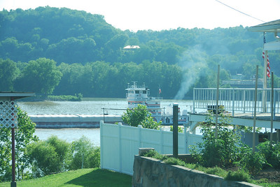 Barge traffic along the Ohio River.